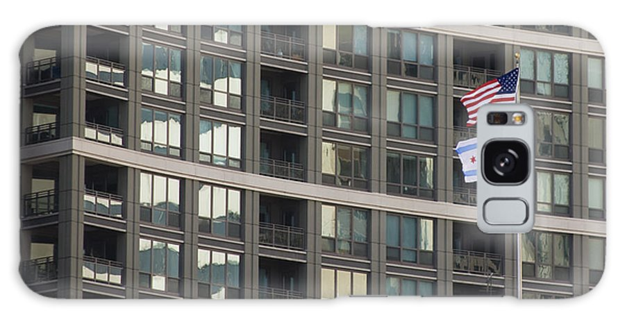 Chicago Windy City Metro Urban Building Windows Flag Reflection Galaxy S8 Case featuring the photograph In Chicago by Andrei Shliakhau