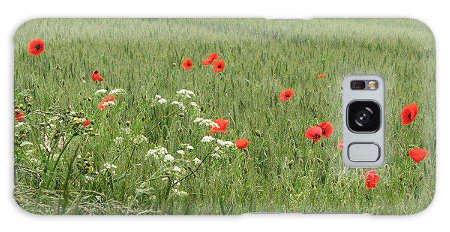 Lest-we Forget Galaxy S8 Case featuring the photograph in Flanders Fields the poppies blow by Mary Ellen Mueller Legault