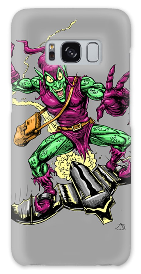Green Goblin Galaxy S8 Case featuring the drawing In Green Pursuit by John Ashton Golden