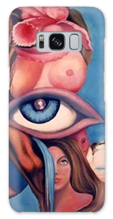 Blue Surreal Artwork Galaxy S8 Case featuring the painting In My World by Jordana Sands