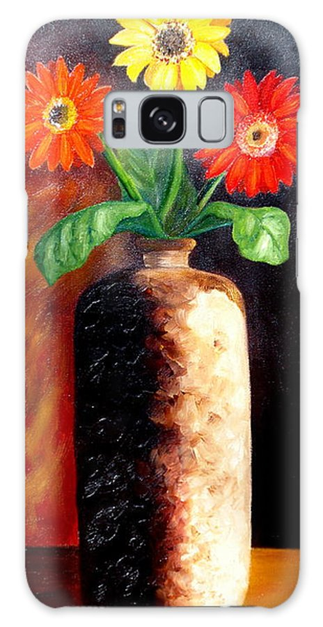 Gergbera Daisies Galaxy Case featuring the painting In Sharp Contrast. SOLD by Susan Dehlinger