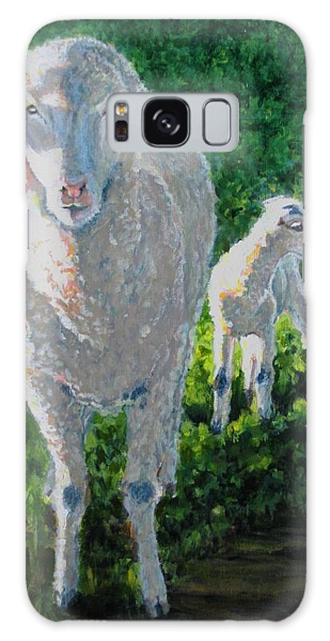 Sheep Galaxy Case featuring the painting In Sheep's Clothing by Karen Ilari