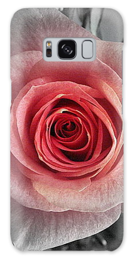 Rose Red Blackandwhite Galaxy Case featuring the photograph In The Center by Luciana Seymour