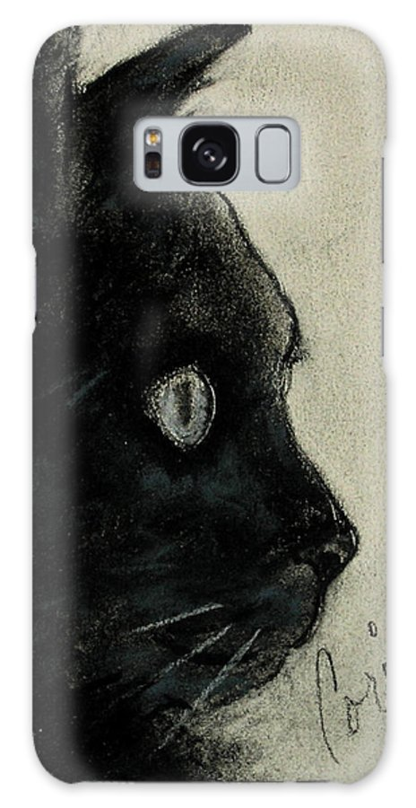 Cat Galaxy S8 Case featuring the drawing In The Dark by Cori Solomon