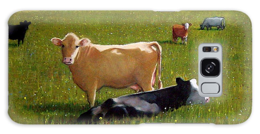 Cows Galaxy Case featuring the pastel In The Pasture by Joyce Geleynse