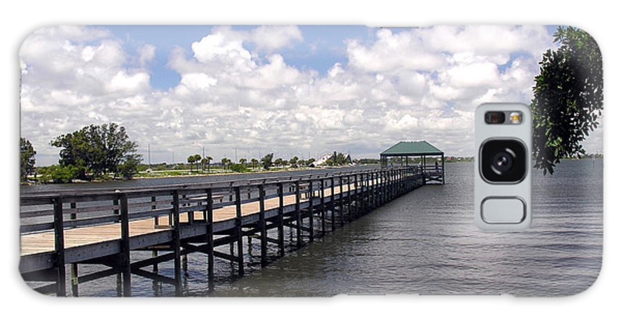 Indialantic; Pier; Florida; Brevard; Melbourne; Indian; River; Intercoastal; Waterway; Clouds South; Galaxy S8 Case featuring the photograph Indialantic Pier On The Indian River Lagoon In Central Florida by Allan Hughes