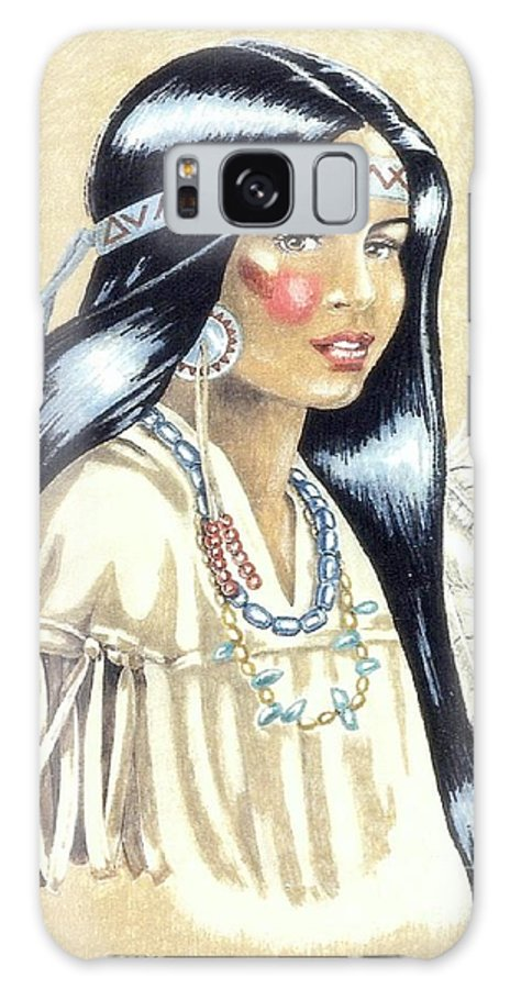 American Indians Galaxy S8 Case featuring the painting Indian Girl by George I Perez