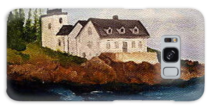 Lighthouse Galaxy S8 Case featuring the painting Indian Island Light House by Timothy Smith