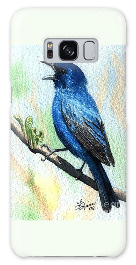 Bird Galaxy S8 Case featuring the painting Indigo Bunting by Lynn Quinn