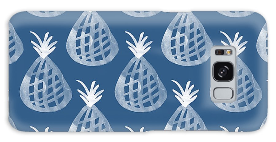 Indigo Galaxy Case featuring the mixed media Indigo Pineapple Party by Linda Woods