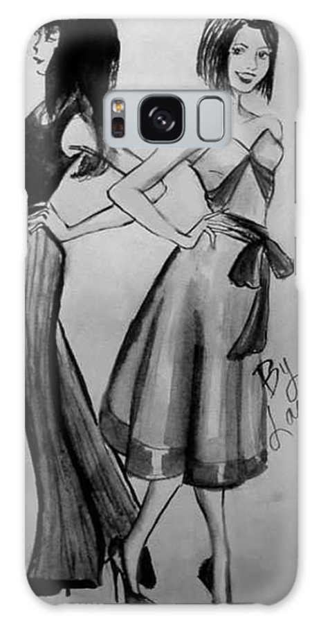 Fashion Galaxy S8 Case featuring the drawing Ink Ladies by Laura Rispoli