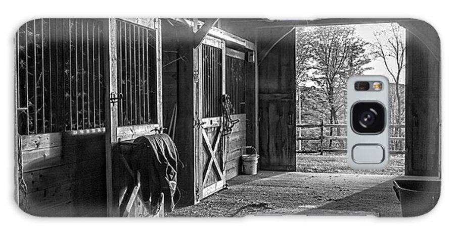 White Galaxy S8 Case featuring the photograph Inside The Horse Barn Black And White by Edward Fielding