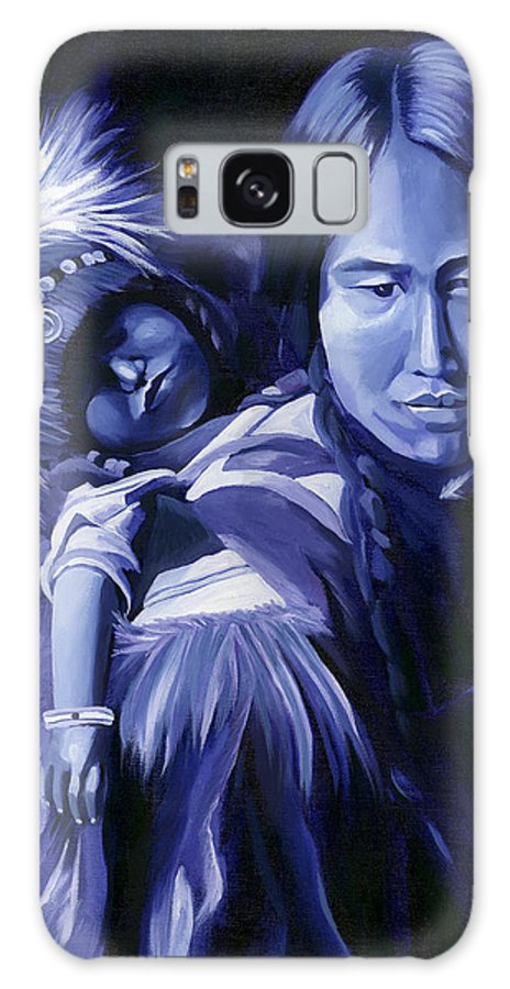 Native American Galaxy Case featuring the painting Inuit Mother And Child by Nancy Griswold