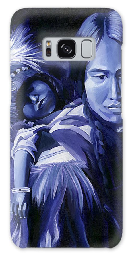 Native American Galaxy S8 Case featuring the painting Inuit Mother And Child by Nancy Griswold