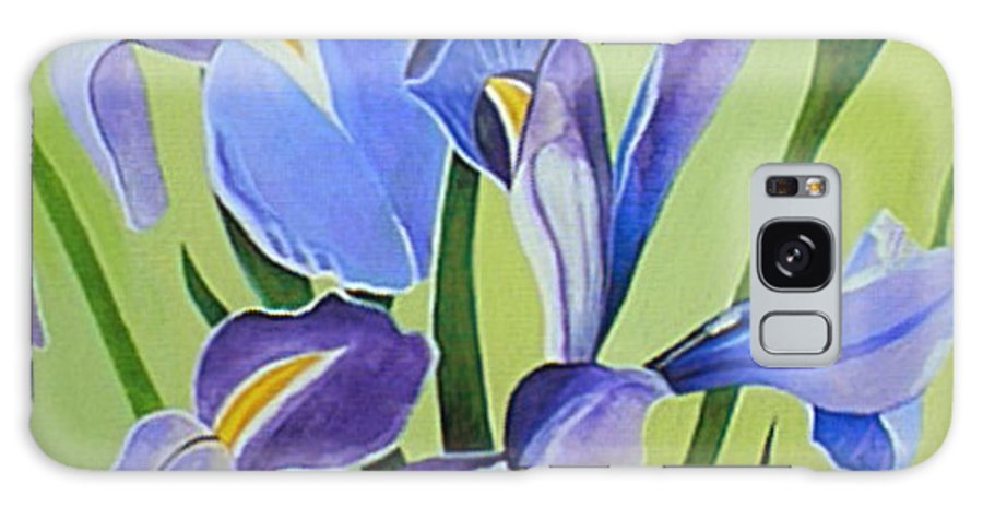 Flower Galaxy S8 Case featuring the painting Iris Fields - Center Panel by Helena Tiainen