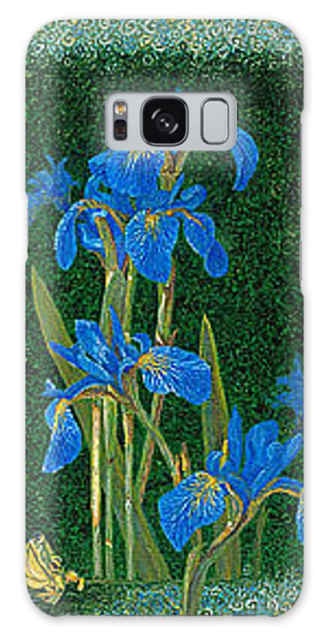 Irises Galaxy S8 Case featuring the painting Irises Blue Flowers Lucky Love Frog Friends Fine Art Print Giclee High Quality Exceptional Colors by Baslee Troutman