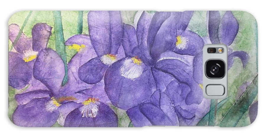 Floral Galaxy S8 Case featuring the painting Irises by LInda Stephenson