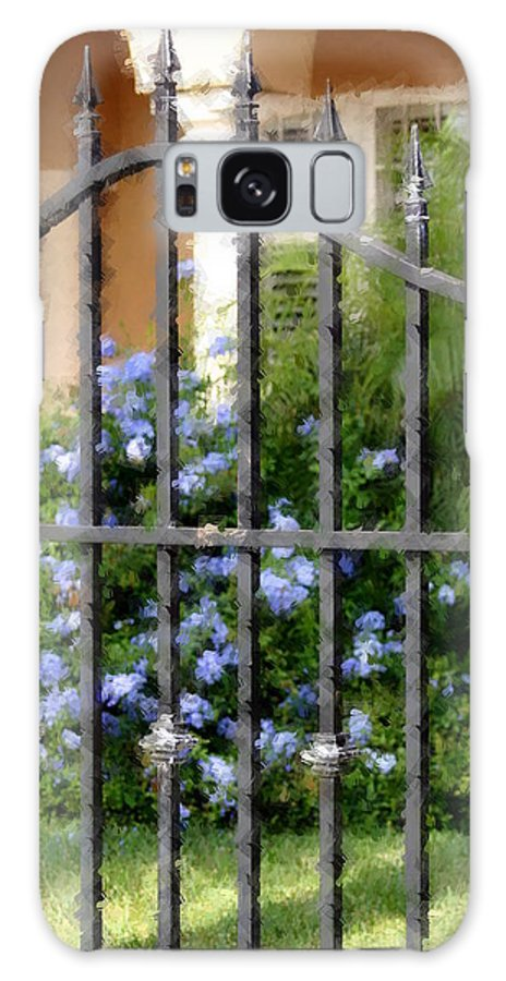 Gate Galaxy S8 Case featuring the photograph Iron Gate And Blue Flowers by Diane Merkle