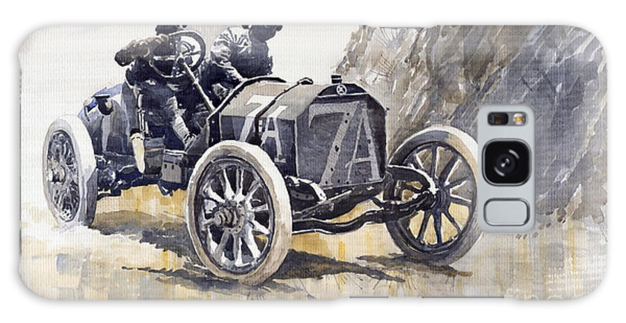 Watercolour Galaxy S8 Case featuring the painting Isotta Fraschini 50hp 1908 Targa Florio by Yuriy Shevchuk