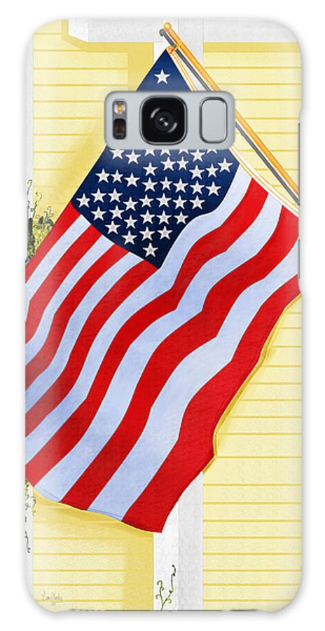 U.s. Flag Galaxy Case featuring the painting It Will Fly Until They All Come Home by Anne Norskog