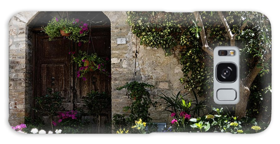 Flower Galaxy Case featuring the photograph Italian Front Door Adorned With Flowers by Marilyn Hunt
