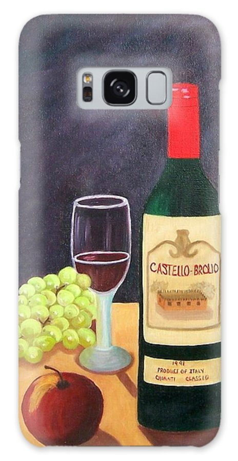 Still Life Galaxy Case featuring the painting Italian Wine And Fruit by Ruth Housley