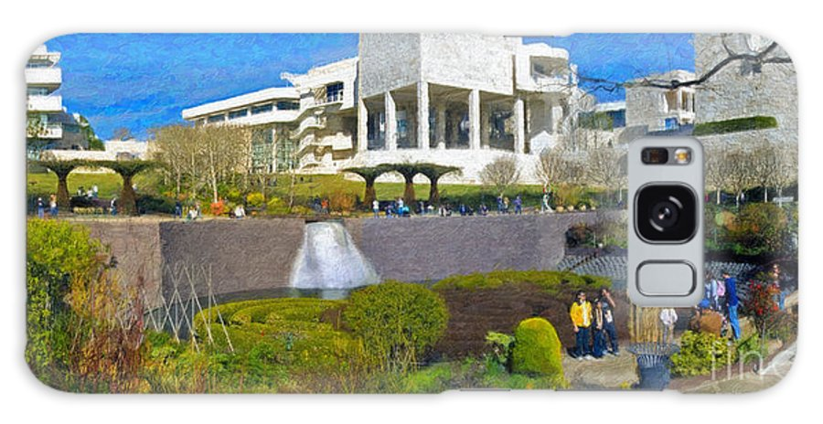 J Paul Getty Galaxy S8 Case featuring the photograph J. Paul Getty Museum Central Garden Panorama by David Zanzinger
