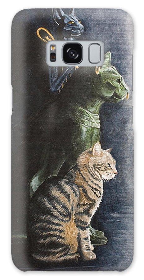 Cat Jake Bastet Egyptian Statues Gods Pet Portrait Galaxy S8 Case featuring the painting Jake And The Ancestors-pet Portrait by Pauline Sharp
