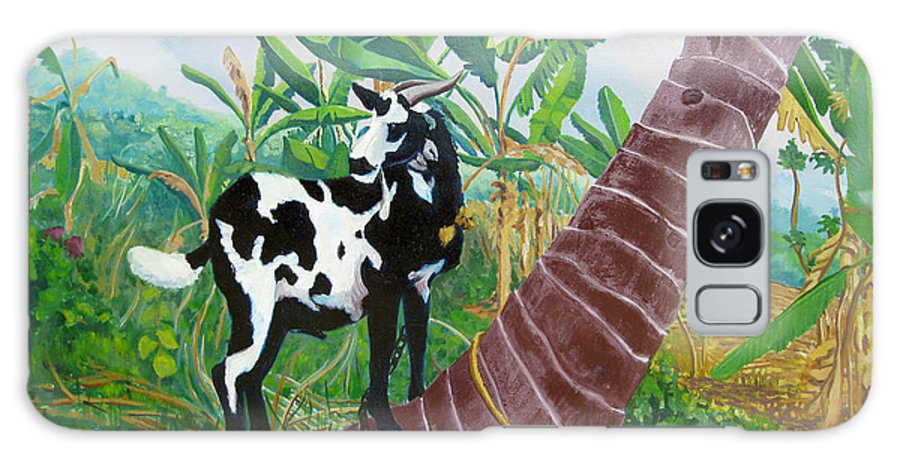 Tropical Galaxy S8 Case featuring the painting Jamaican Goat In A Tree by D T LaVercombe