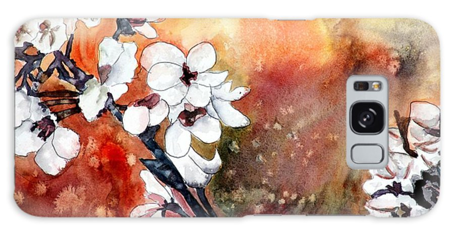 Watercolor Galaxy Case featuring the painting Japanese cherry blossom abstract flowers by Derek Mccrea