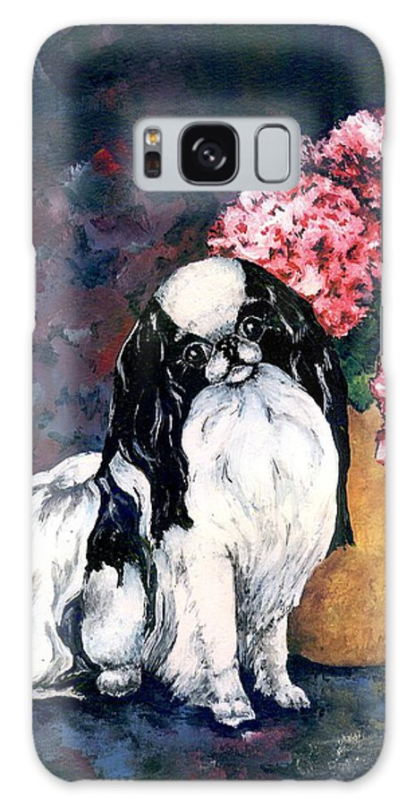 Japanese Chin Galaxy Case featuring the painting Japanese Chin and Hydrangeas by Kathleen Sepulveda