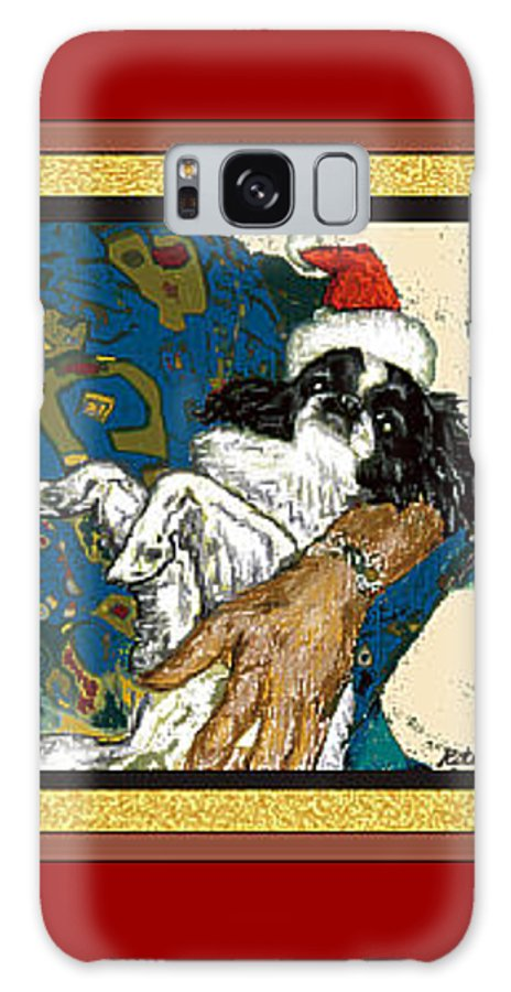 Japanese Chin Galaxy Case featuring the digital art Japanese Chin Christmas by Kathleen Sepulveda