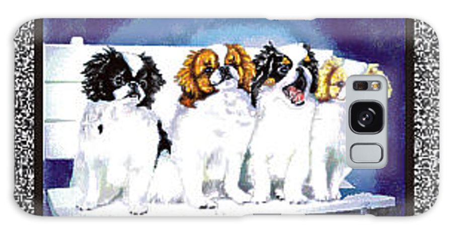 Japanese Chin Galaxy Case featuring the digital art Japanese Chin Puppies by Kathleen Sepulveda