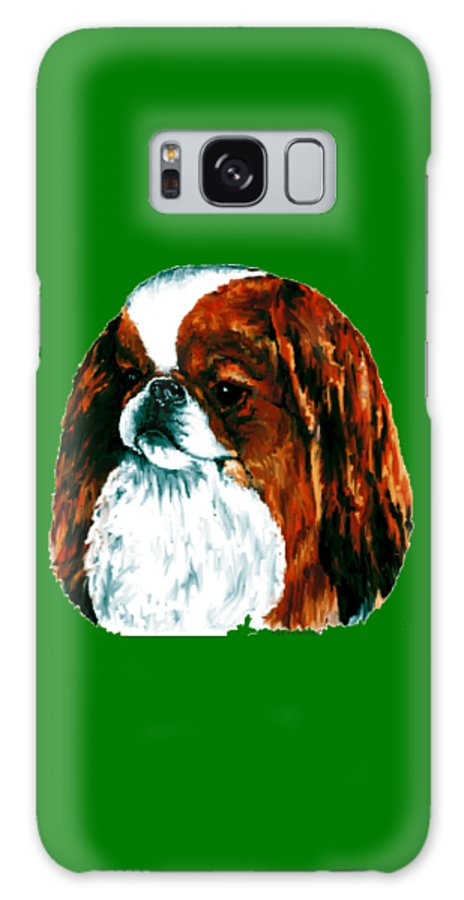 Japanese Chin Galaxy Case featuring the digital art Japanese Chin, Sable by Kathleen Sepulveda