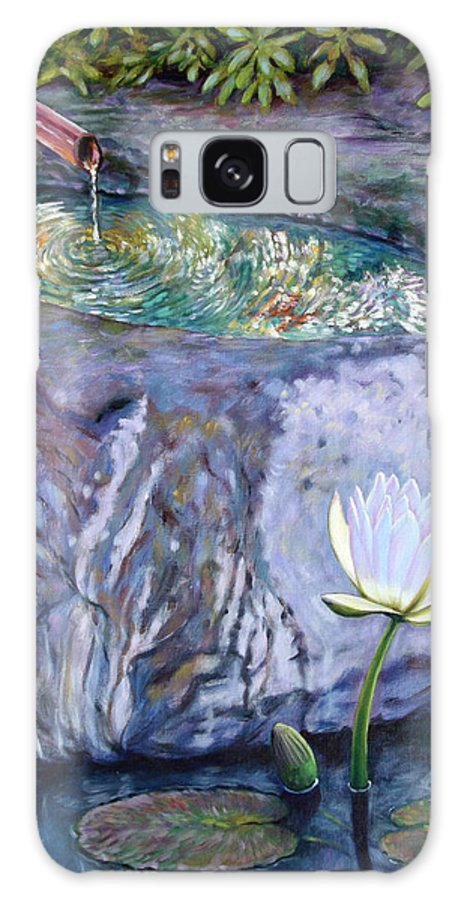 Garden Galaxy S8 Case featuring the painting Japanese Fountain With Lily by John Lautermilch