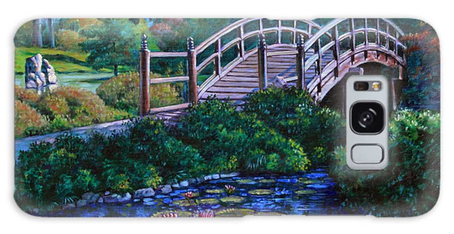 Japanese Bridge Galaxy Case featuring the painting Japanese Garden Bridge by John Lautermilch