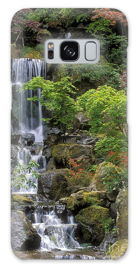Waterfall Galaxy S8 Case featuring the photograph Japanese Garden Waterfall by Sandra Bronstein