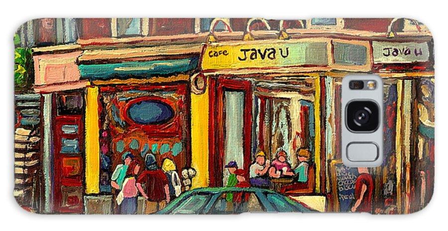 Java U Coffee Shops Galaxy S8 Case featuring the painting Java U Coffee Shop Montreal Painting By Streetscene Specialist Artist Carole Spandau by Carole Spandau