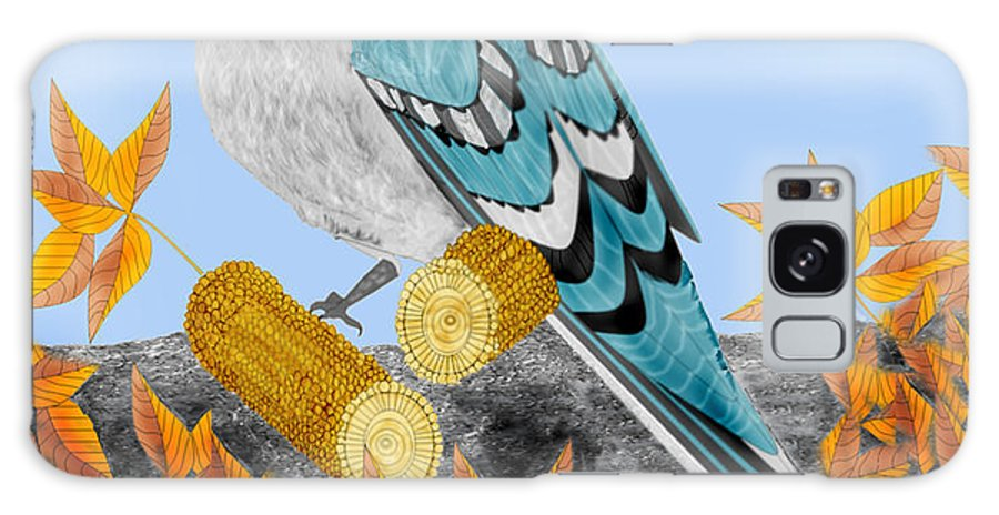 Jay Bird Galaxy Case featuring the painting Jay With Corn And Leaves by Anne Norskog