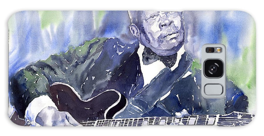 Jazz Bbking Music Watercolor Watercolour Guitarist Portret Galaxy S8 Case featuring the painting Jazz B B King 01 by Yuriy Shevchuk