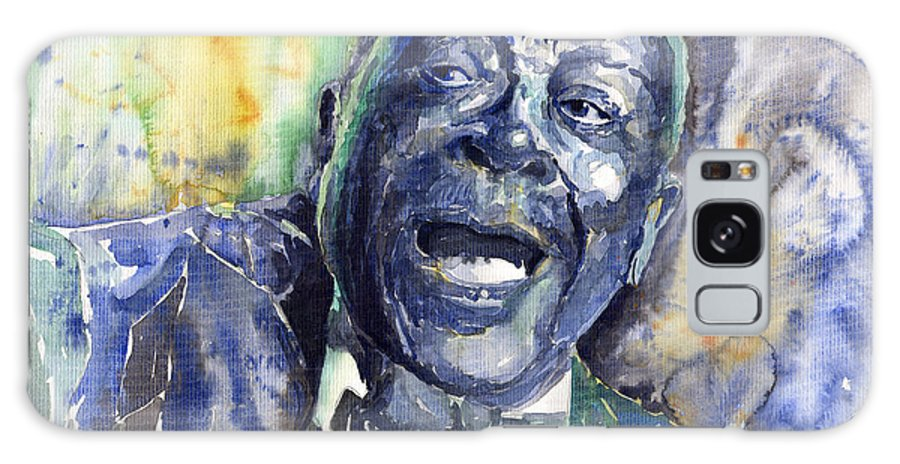 Jazz Galaxy S8 Case featuring the painting Jazz B.b.king 04 Blue by Yuriy Shevchuk