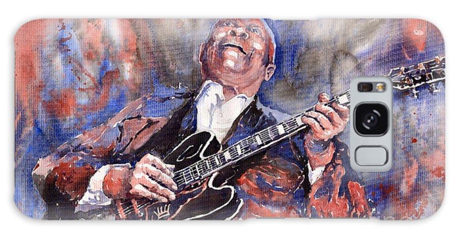 Jazz Galaxy Case featuring the painting Jazz B B King 05 Red A by Yuriy Shevchuk