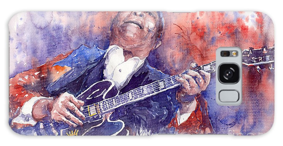 Jazz Galaxy S8 Case featuring the painting Jazz B B King 05 Red by Yuriy Shevchuk