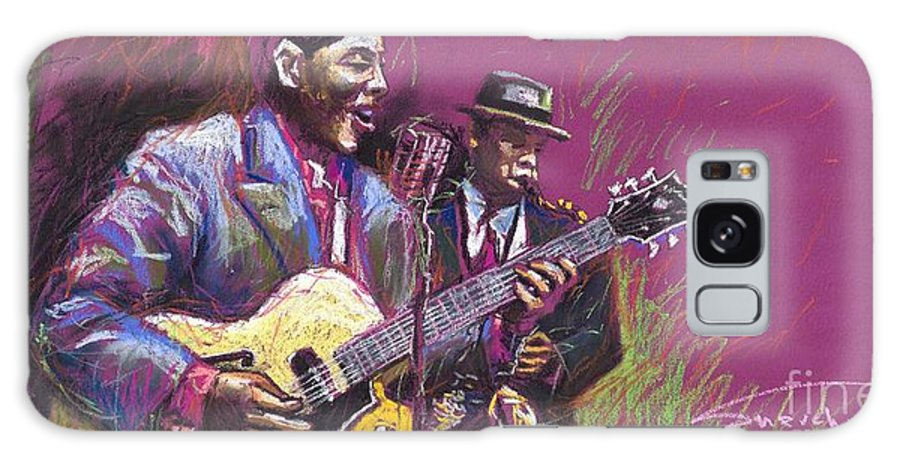 Jazz Galaxy Case featuring the painting Jazz Guitarist Duet by Yuriy Shevchuk