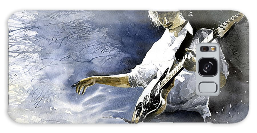 Figurativ Galaxy S8 Case featuring the painting Jazz Guitarist Last Accord by Yuriy Shevchuk
