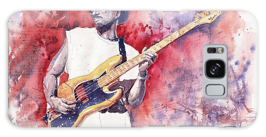 Jazz Galaxy S8 Case featuring the painting Jazz Guitarist Marcus Miller Red by Yuriy Shevchuk