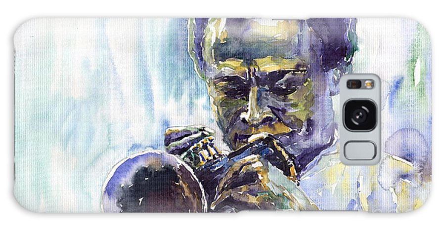 Jazz Miles Davis Music Musiciant Trumpeter Portret Galaxy Case featuring the painting Jazz Miles Davis 10 by Yuriy Shevchuk
