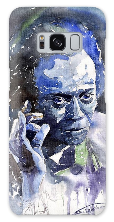 Jazz Galaxy S8 Case featuring the painting Jazz Miles Davis 11 Blue by Yuriy Shevchuk