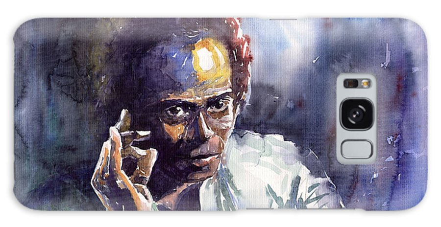 Jazz Watercolor Watercolour Miles Davis Portret Galaxy S8 Case featuring the painting Jazz Miles Davis 11 by Yuriy Shevchuk