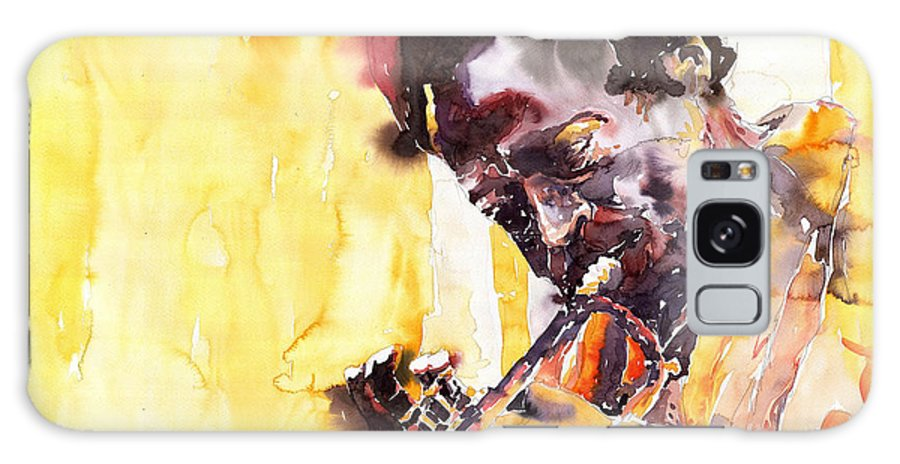 Jazz Music Watercolor Watercolour Miles Davis Trumpeter Portret Galaxy S8 Case featuring the painting Jazz Miles Davis 6 by Yuriy Shevchuk